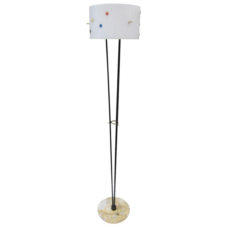 Angelo Brotto, Metal, Marble and Brass Midcentury Italian Floor Lamp, 1960 For Sale