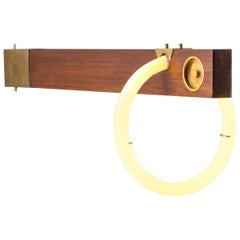 Angelo Brotto neon wall light in walnut and brass