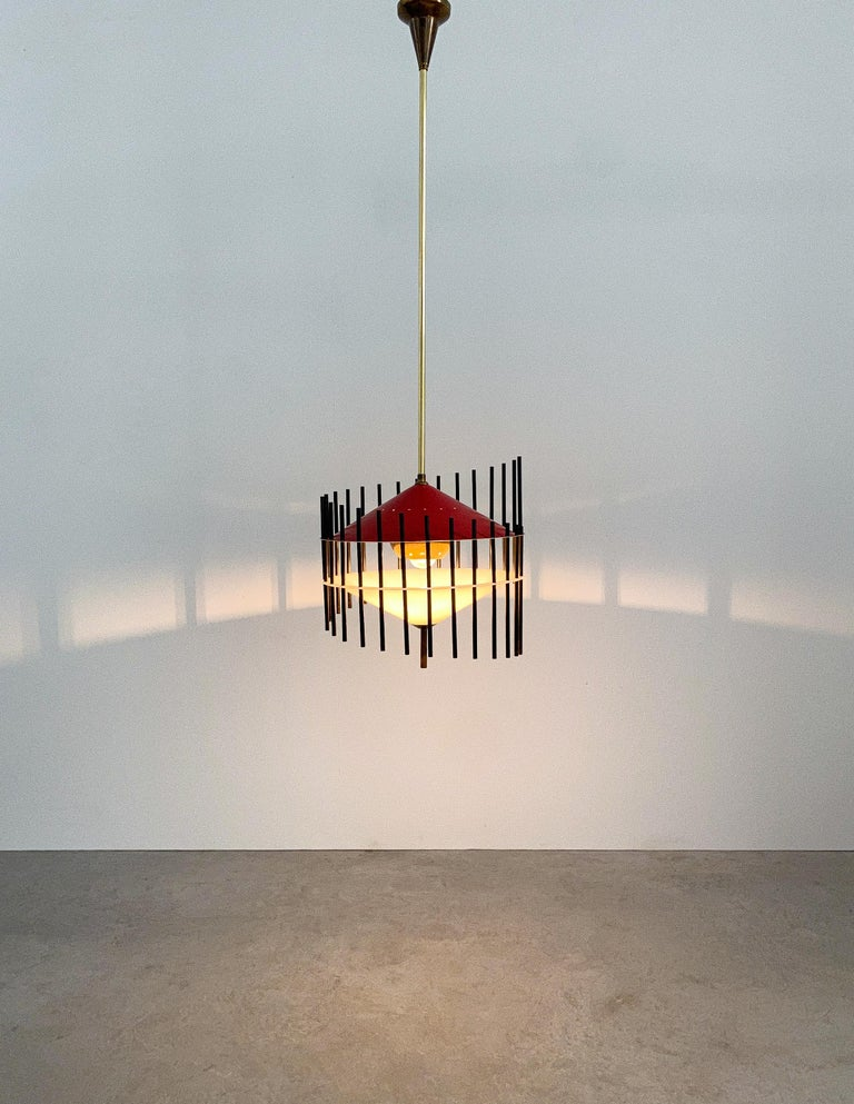 Angelo Brotto Pendant Lamp for Esperia, Italy, circa 1955 In Good Condition For Sale In Vienna, AT