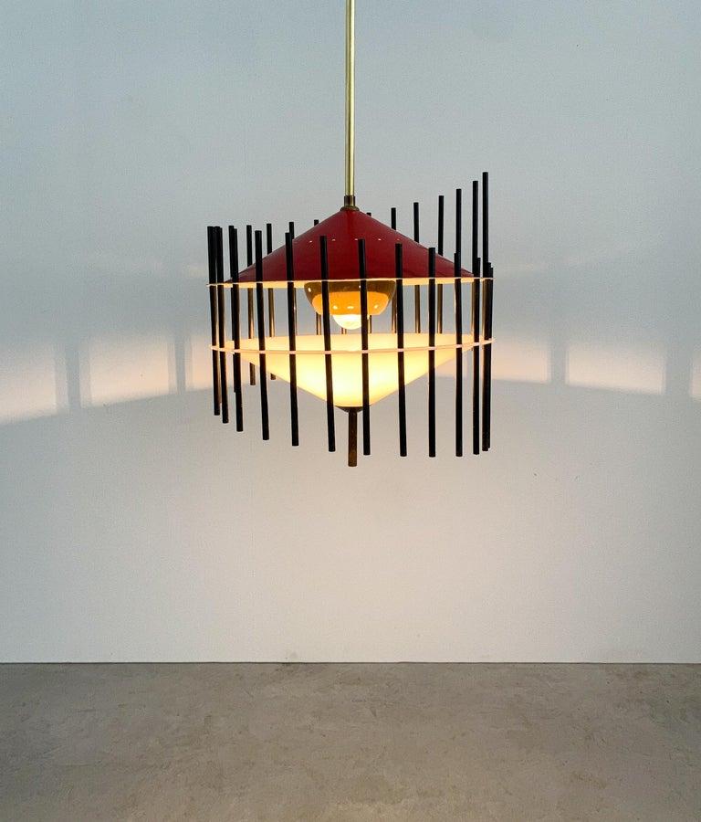 Mid-20th Century Angelo Brotto Pendant Lamp for Esperia, Italy, circa 1955 For Sale