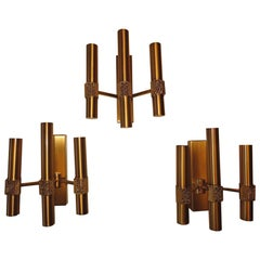Angelo Brotto Three Midcentury Brass Sconces Finely Decorated