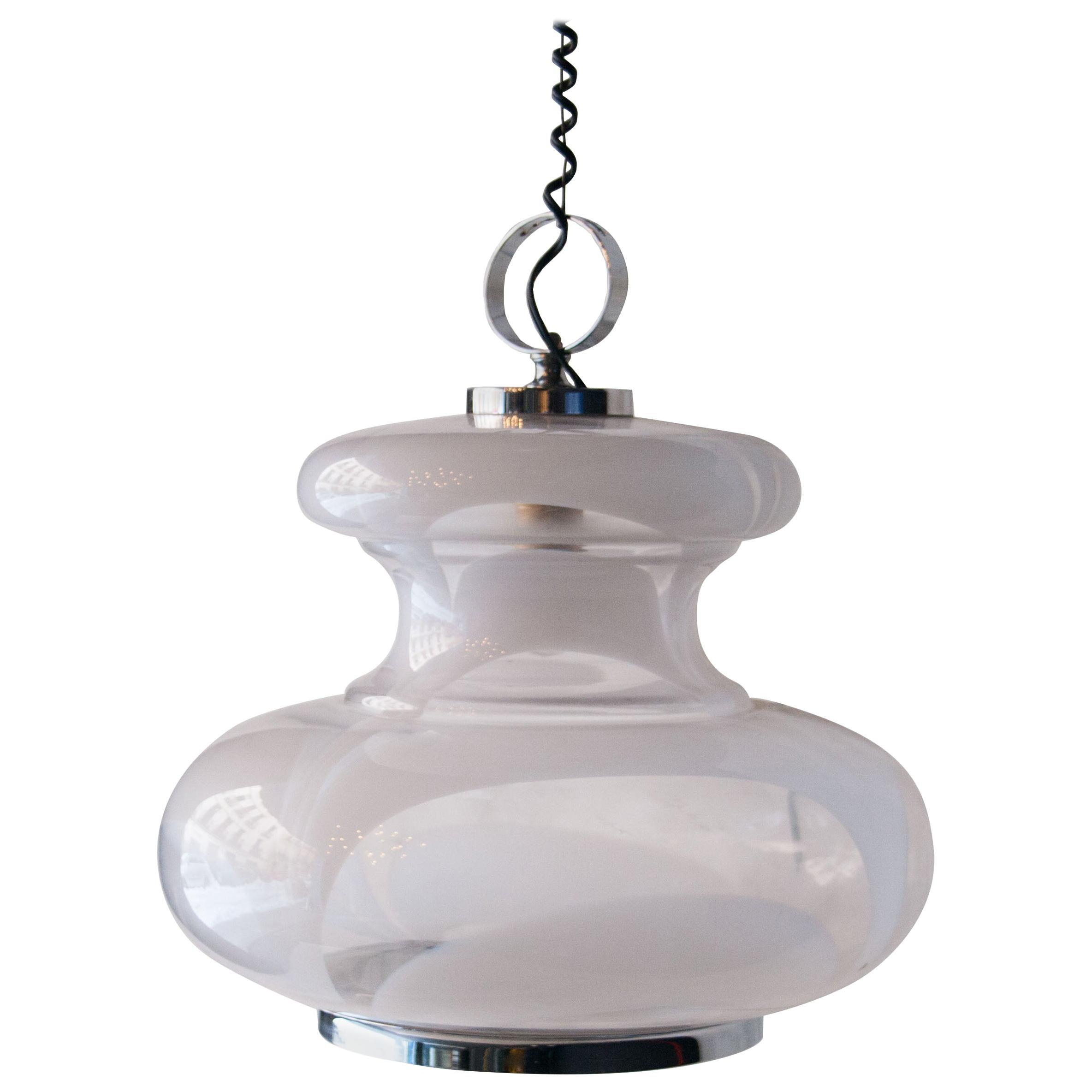 Angelo Brotto White Murano Glass Chromed Hanging Lamp, Italy, 1950