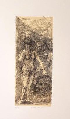 Angels - Original Etching by Angelo Canevari - 1969