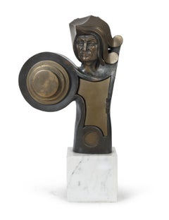 Sculpture of Warrion Bronze on White Marble Base by Angelo Canevari Signed