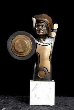 Angelo Canevari The Warrior Bronze Sculpture on White Marble Base Signed