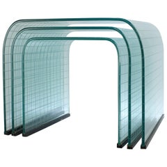 Angelo Cortesi FIAM Graduated Curved Waterfall Glass Side or Occasional Tables
