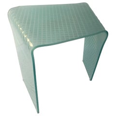 Angelo Cortesi for Fiam Green Tint Etched White Glass Side or Occasional Table