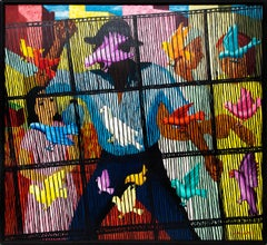 Birdcage, Modernist Painting, Figures with Birds, Yellow, Red, Blue, Pink, Black