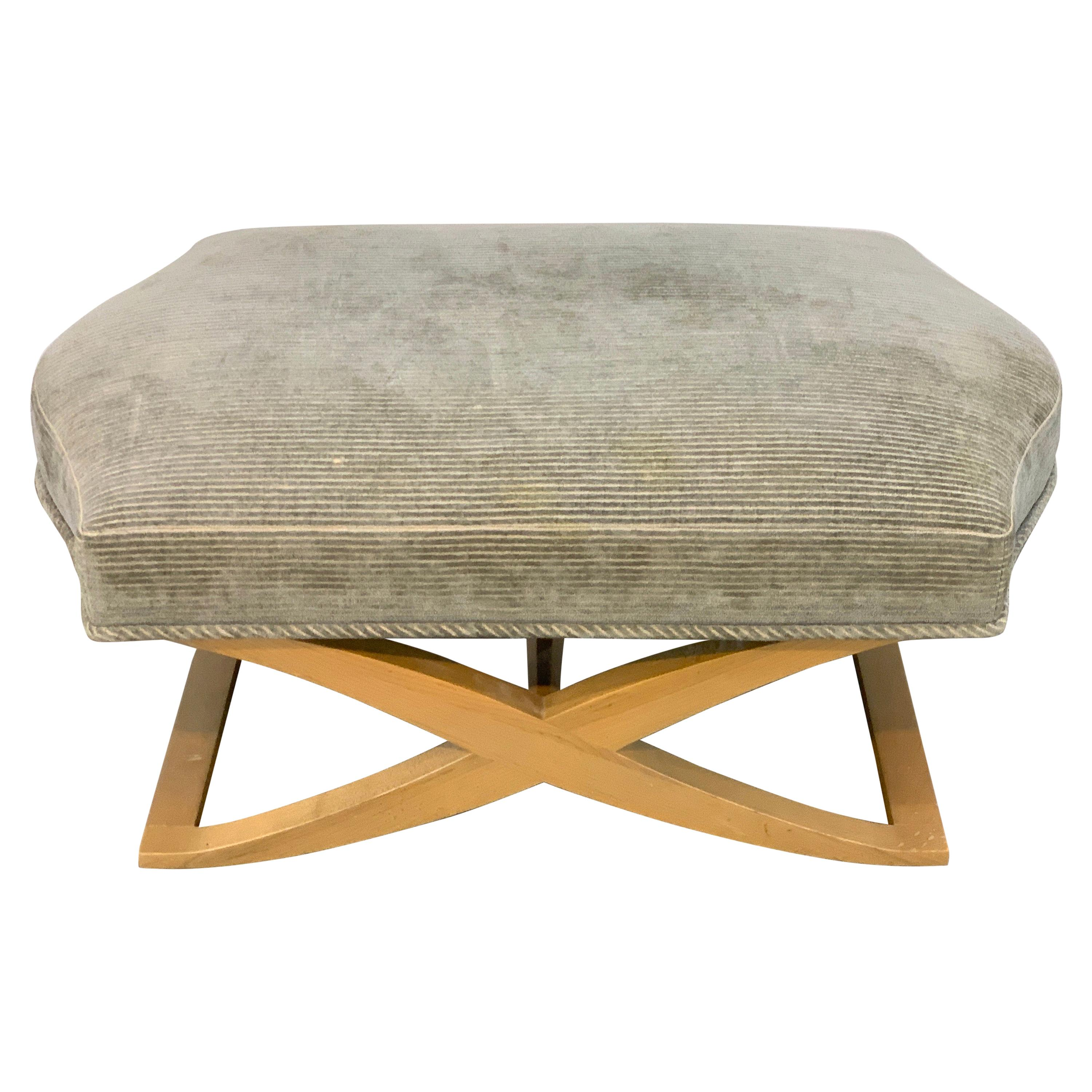 """Angelo Donghia """"Versailles"""" Blonde Wood Bench/ Ottoman by John Hutton"""