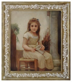 CHILD- In the Manner of  W.A.Bouguereau Italy Figurative Oil on canvas painting
