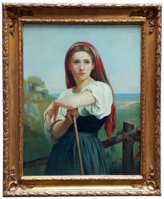 COUNTRY GIRL - Italian figurative oil on canvas painting, Angelo Granati