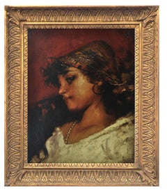 COUNTRY GIRL - Italian portrait of young peasant oil on canvas painting, Granati