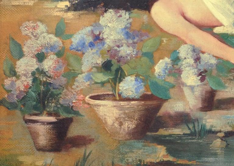 In the garden - Angelo Granati Italia 2004 - Oil on canvas cm. 50 x 80 Gold leaf gilded wooden frame cm.67x97