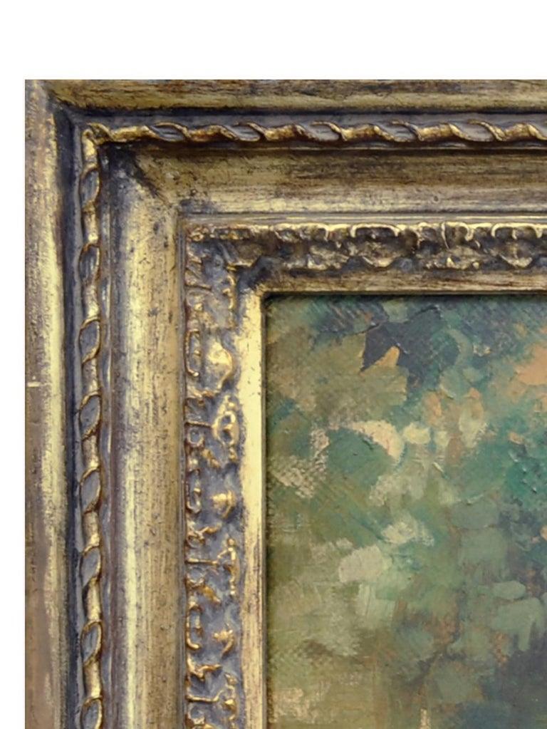 IN THE GARDEN - Italian figurative oil on canvas painting, Angelo Granati For Sale 2
