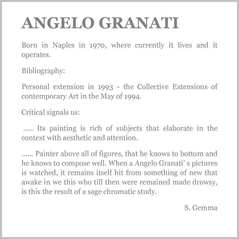 IN THE GARDEN - Italian figurative oil on canvas painting, Angelo Granati For Sale 3