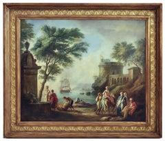 MEDITERRANEAN HARBOR - Angelo Granati Italian landscape oil on canvas painting