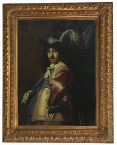 MUSKETEER - Italian portrait oil on canvas painting, Angelo Granati