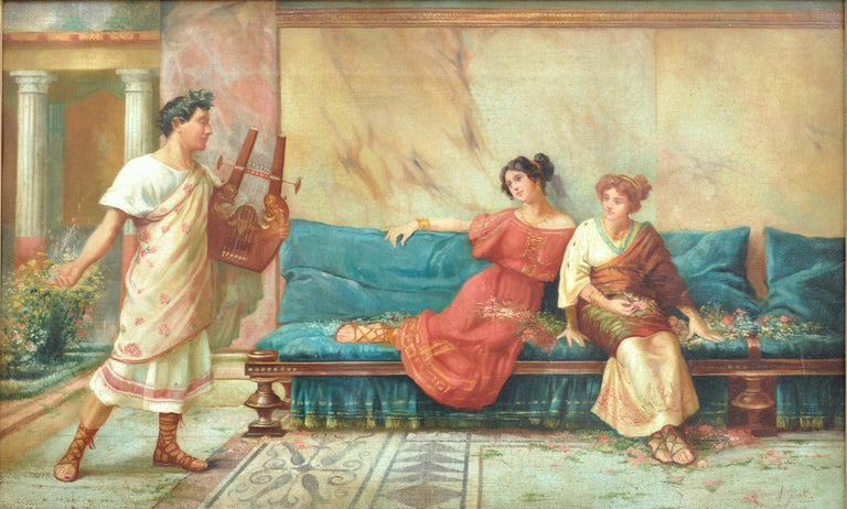 POMPEIAN SCENE - Angelo Granati Italian figurative oil on canvas painting - Old Masters Painting by Angelo Granati