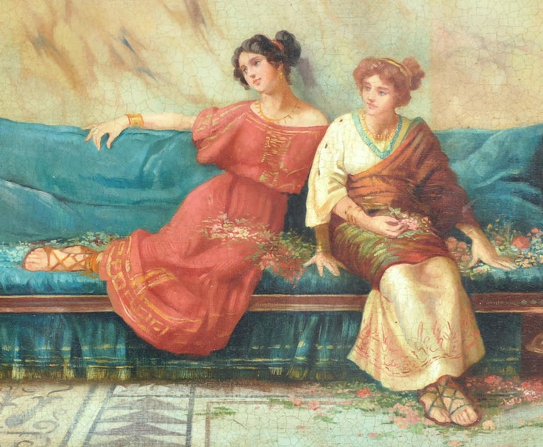 POMPEIAN SCENE - Angelo Granati Italian figurative oil on canvas painting - Beige Figurative Painting by Angelo Granati