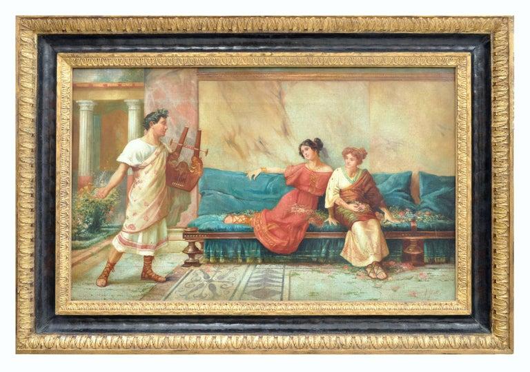POMPEIAN SCENE - Angelo Granati Italian figurative oil on canvas painting - Painting by Angelo Granati