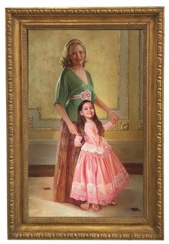 PORTRAIT OF MOTHER AND DAUGHTER - Italian Figurative Oil on Canvas by Granati