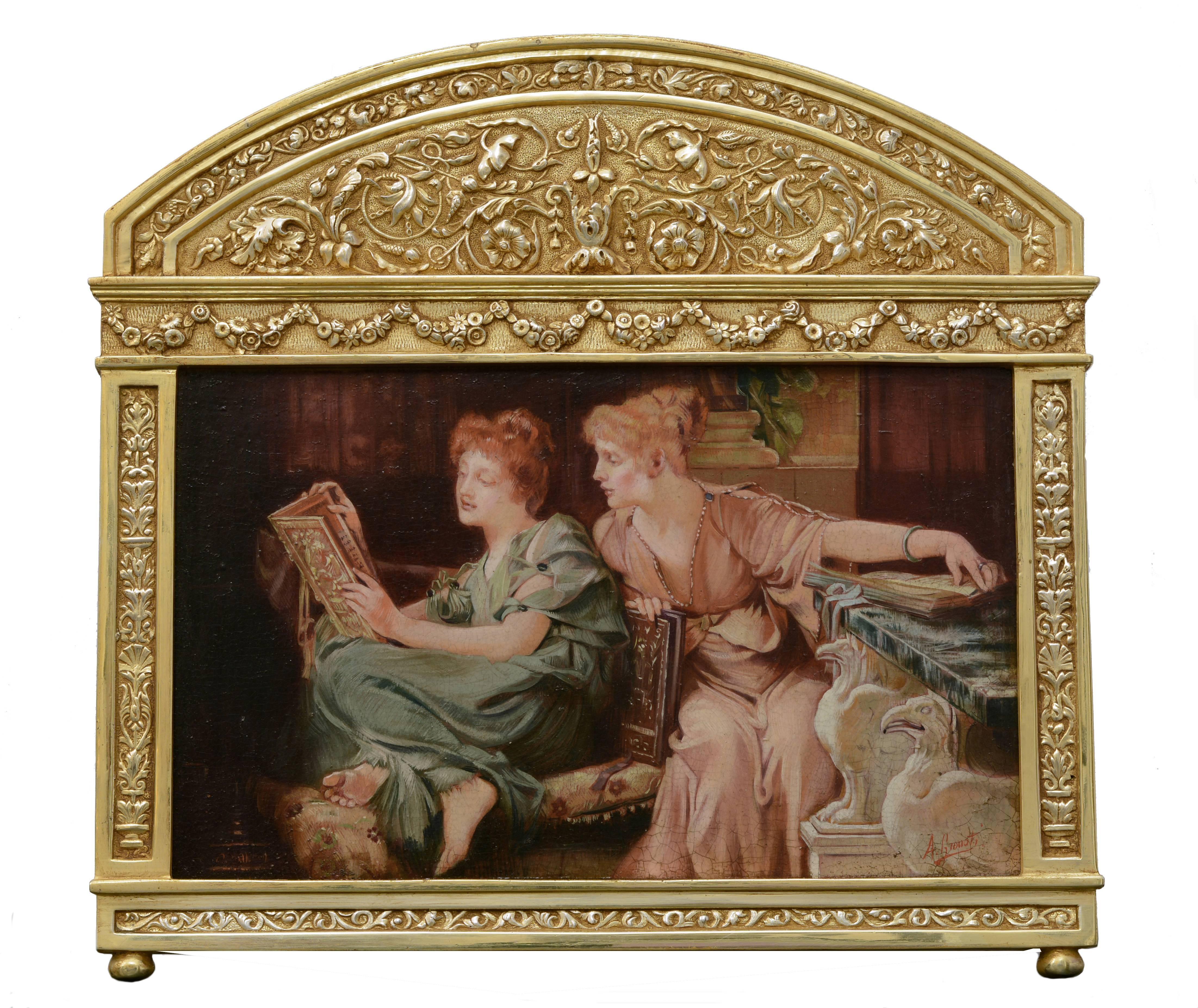 PRIVATE READINGS- In the Manner of  Sir L. Alma-Tadema Italian Figurative oil
