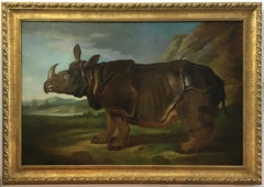 RHINOCEROS - Italian animal oil on canvas painting, Angelo Granati