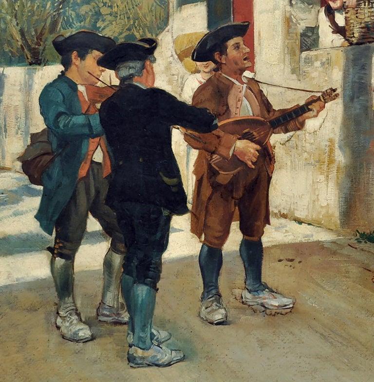 SERENADE - Italian figurative oil on canvas painting, Angelo Granati - Gray Figurative Painting by Angelo Granati