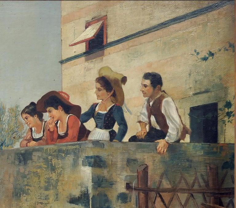 SERENADE - Italian figurative oil on canvas painting, Angelo Granati For Sale 1