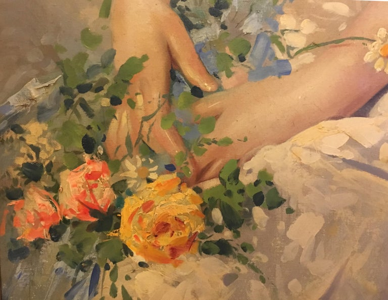 SPRING BEAUTY - Italian figurative oil on canvas painting, Angelo Granati For Sale 1