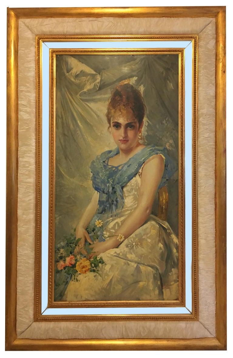SPRING BEAUTY - Italian figurative oil on canvas painting, Angelo Granati - Painting by Angelo Granati