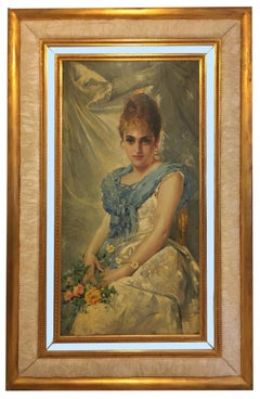 SPRING BEAUTY - Italian figurative oil on canvas painting, Angelo Granati