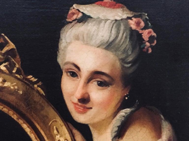 THE BEATIFUL FRAME - Italian figurative oil on canvas painting, Angelo Granati  For Sale 1