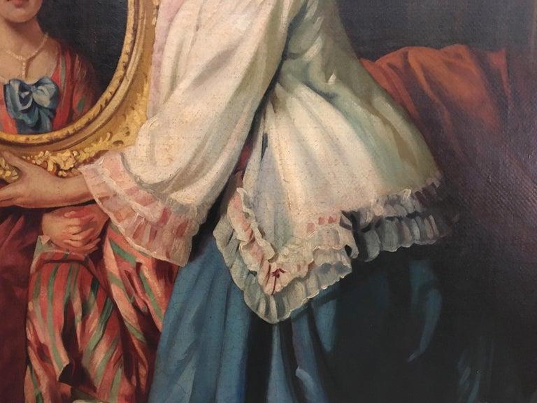 THE BEATIFUL FRAME - Italian figurative oil on canvas painting, Angelo Granati  For Sale 2