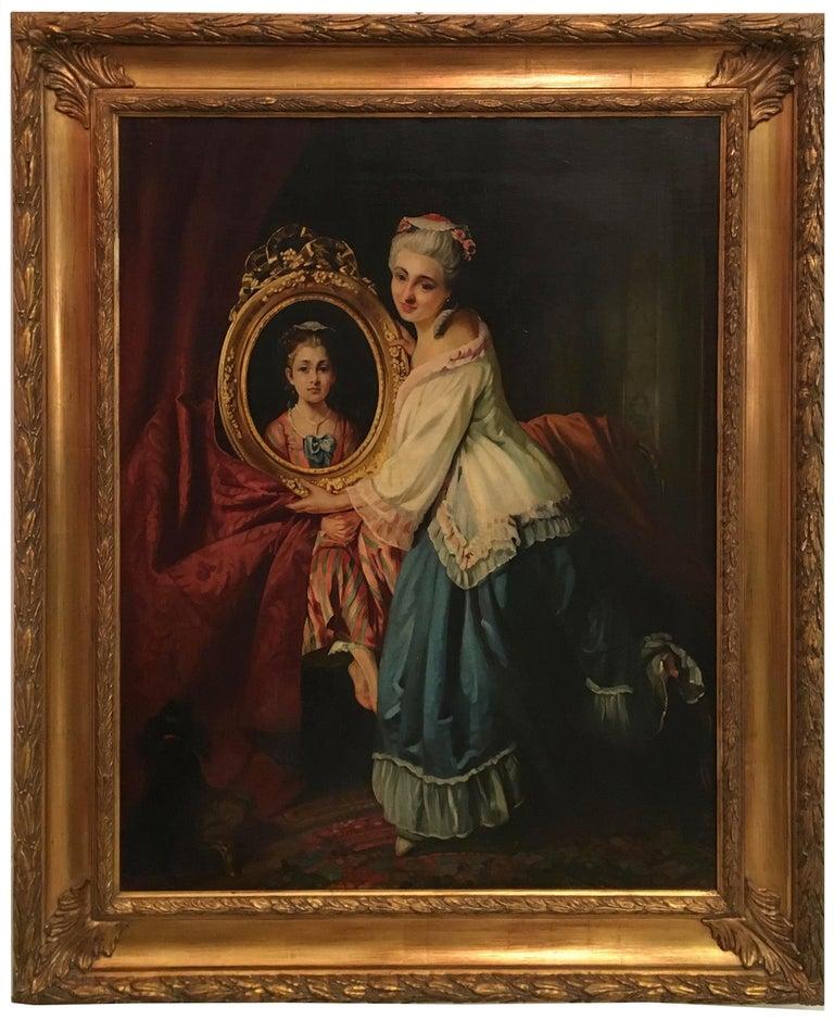 THE BEATIFUL FRAME - Italian figurative oil on canvas painting, Angelo Granati  - Painting by Angelo Granati