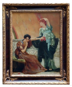UNCONSCIOUS RIVALS - Italian figurative oil on canvas painting, Angelo Granati