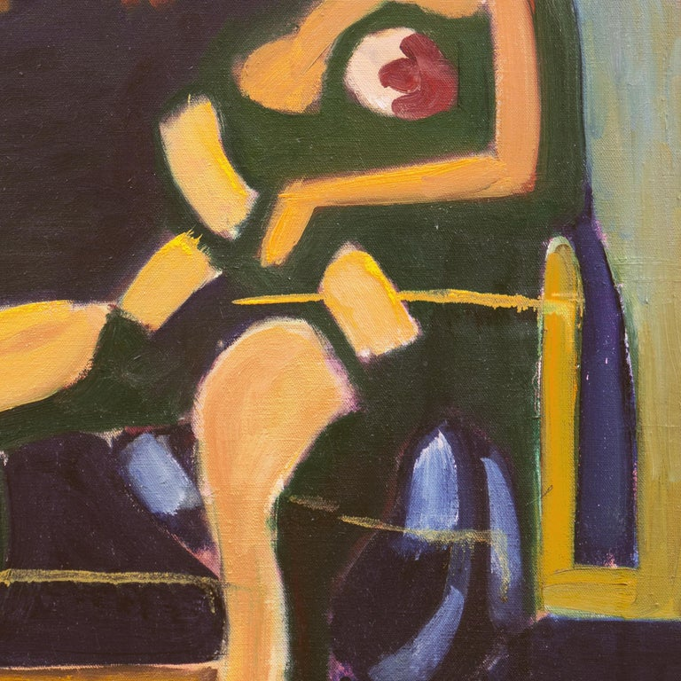 Woman in Abstract (Modernism, New York, Abstract Expressionism) - Brown Nude Painting by Angelo Ippolito