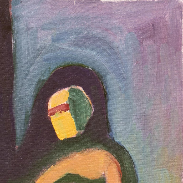 An abstract expressionist figural oil showing a view of a nude woman seated rendered in ochre-yellow and deep green seated in the artist's studio.   Inscribed verso, 'Ippollitto', (American, 1922-2002) titled 'Nude'; additionally inscribed 'Bronson'