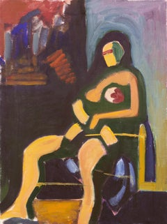 'Seated Woman' Modernist Figural oil by New York Expressionist artist