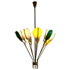 Angelo Lelii 1950s Brass Chandelier, Yellow, Green and White Shades, Arredoluce