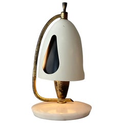 Angelo Lelii Arredoluce Mod. 12398 Brass Marble Table Lamp, Italy, 1952