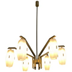 Angelo Lelii Arredoluce Mod. 12780 Brass Ceiling Lamp 1959 Excellent Patina