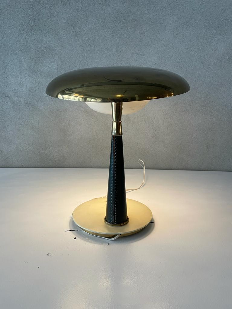 Mid-Century Modern Angelo Lelii Arredoluce Table Lamp Brass Aluminum Green Leather, Italy, 1956