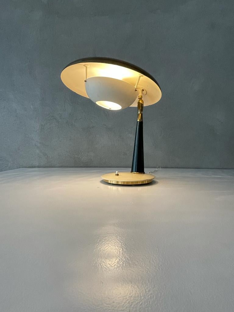 Painted Angelo Lelii Arredoluce Table Lamp Brass Aluminum Green Leather, Italy, 1956