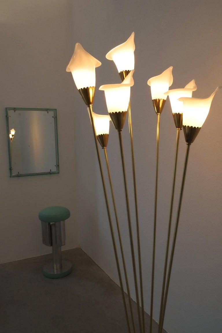 Italian Angelo Lelii Calla Floor Lamp Glass Brass, Midcentury, Italy, Refurbished