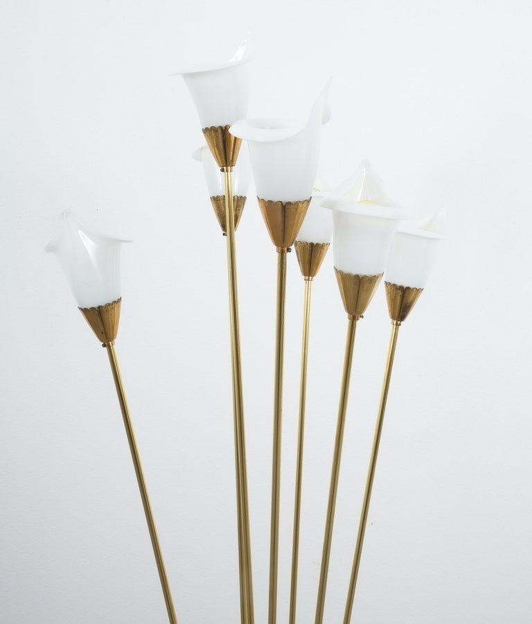 Angelo Lelii Calla Floor Lamp Glass Brass, Midcentury, Italy, Refurbished In Good Condition In Vienna, AT
