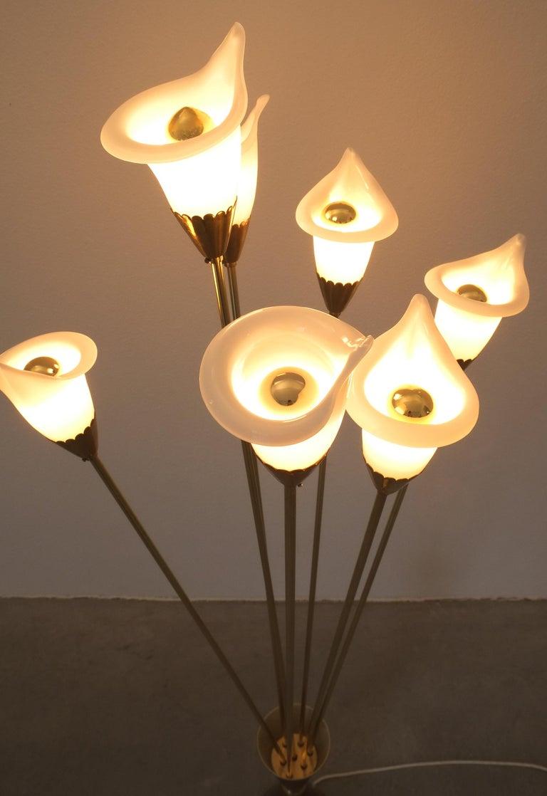 Blown Glass Angelo Lelii Calla Floor Lamp Glass Brass, Midcentury, Italy, Refurbished