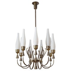 Angelo Lelii Chandelier, 1957, Satin Glass and Brass