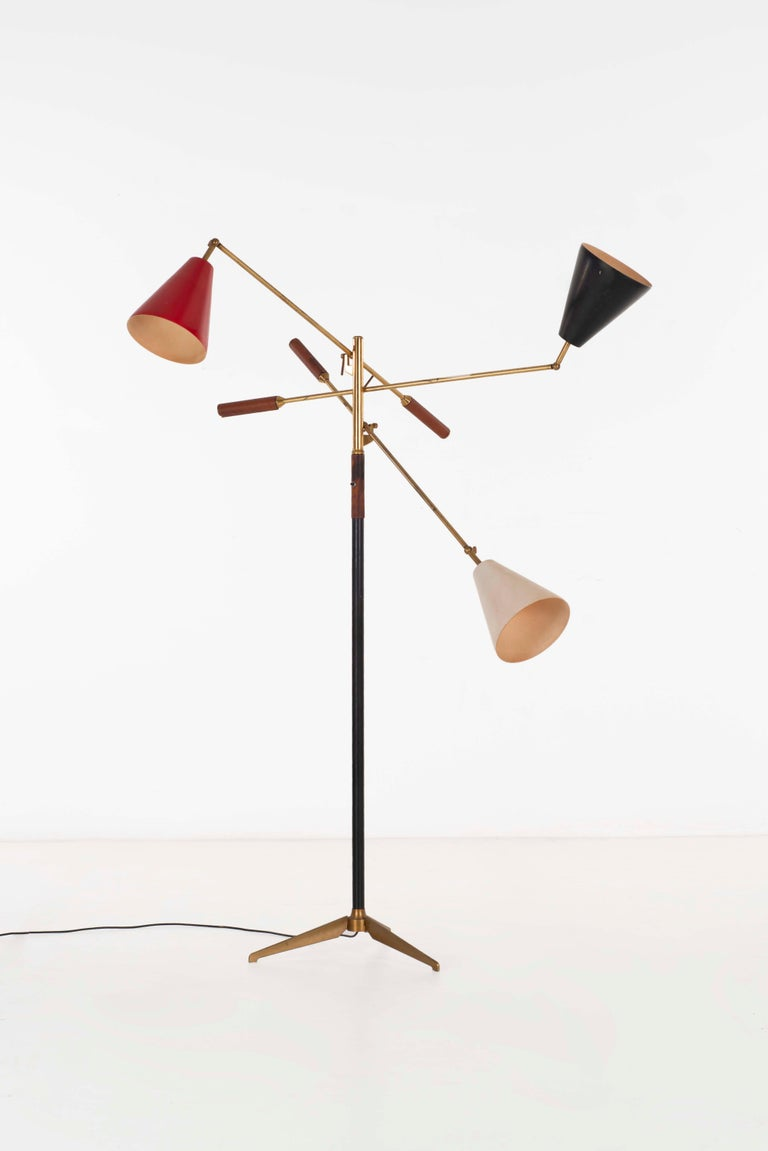 Angelo Lelii early three-arm triennale floor lamp for Arredoluce