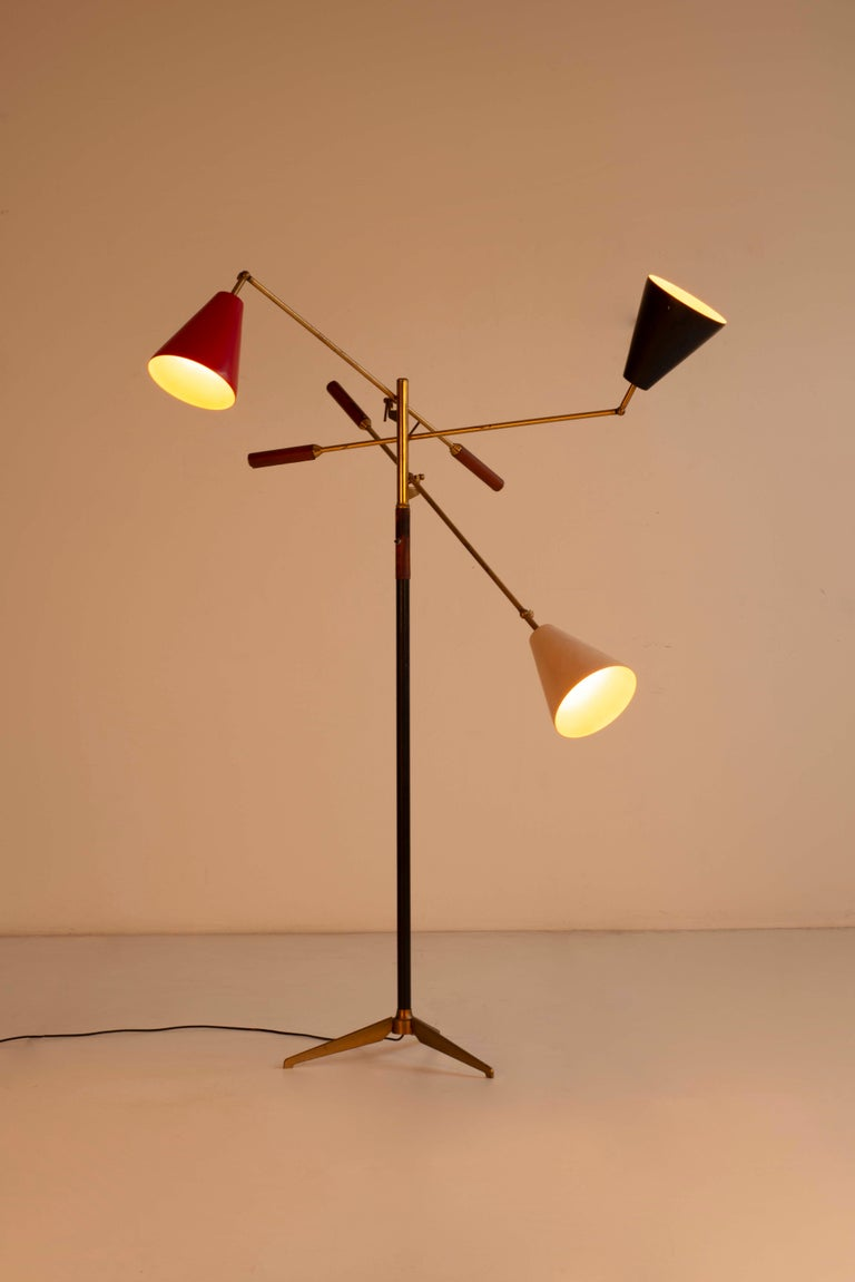 Mid-Century Modern Angelo Lelii Early Three-Arm Triennale Floor Lamp For Sale